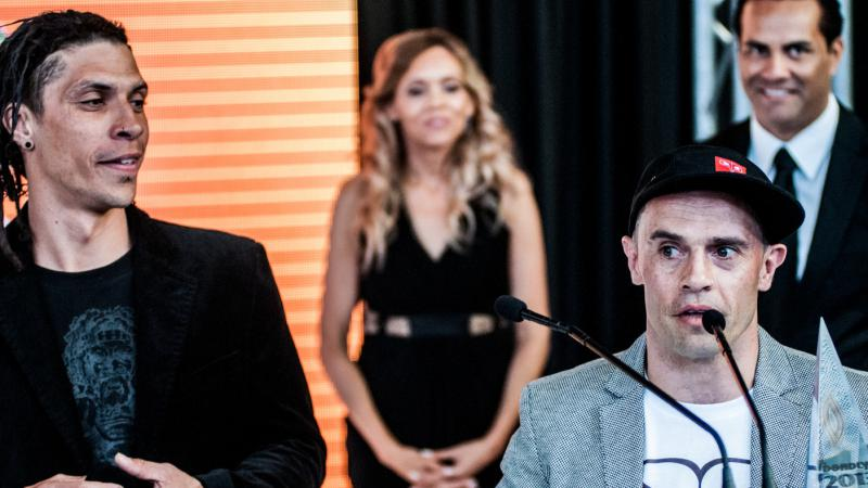 Stik n Move duo, Michael Weir and Nathan Carter at the Deadly Awards in Sydney. Photo by Jules Ibanez. Courtesy of Vibe.