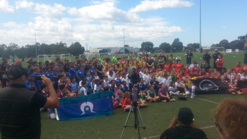 Participants at the third annual Football Federation Victoria Indigenous Football Tournament.